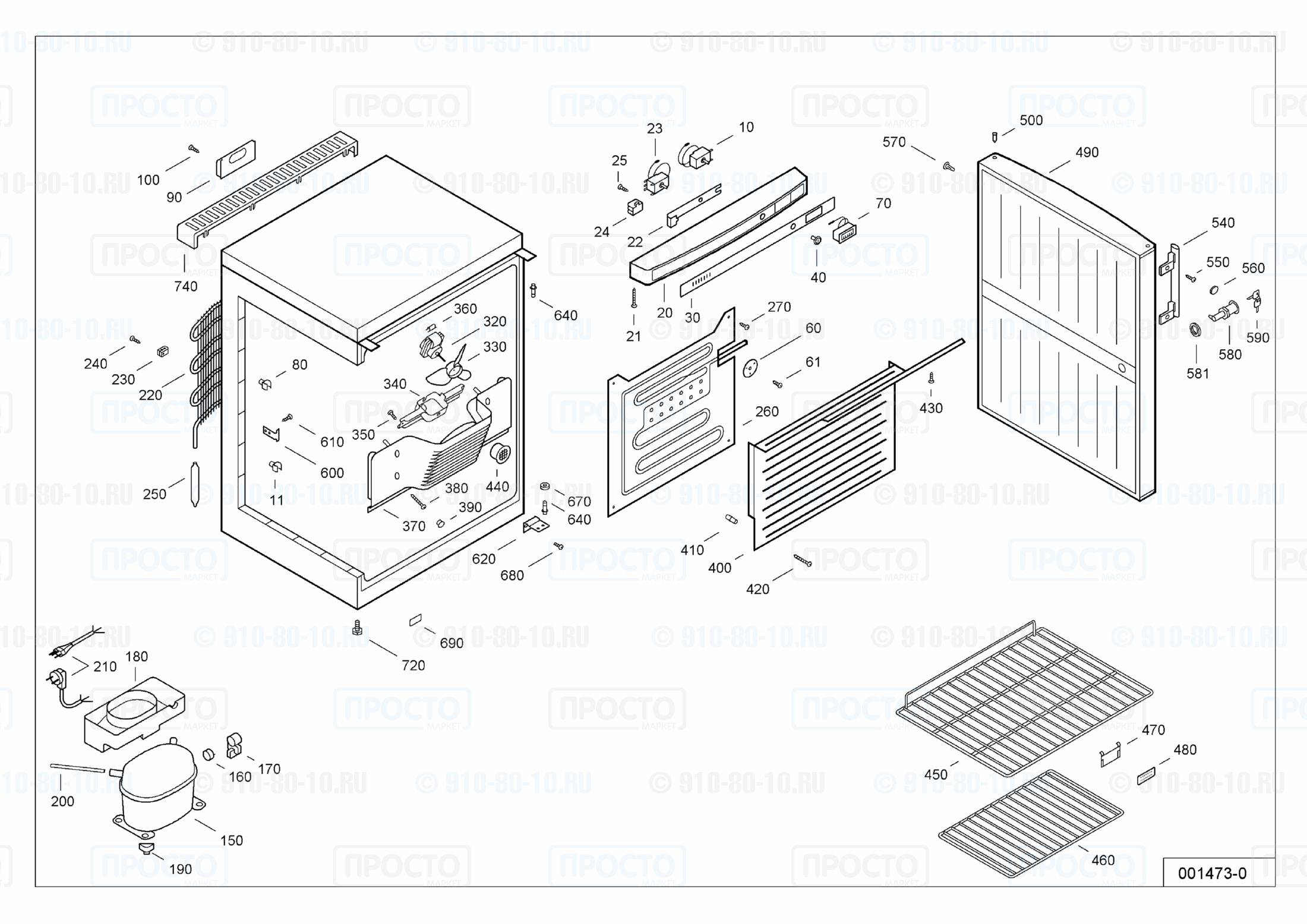 Взрыв-схема запчастей холодильника Liebherr WK 1806-21