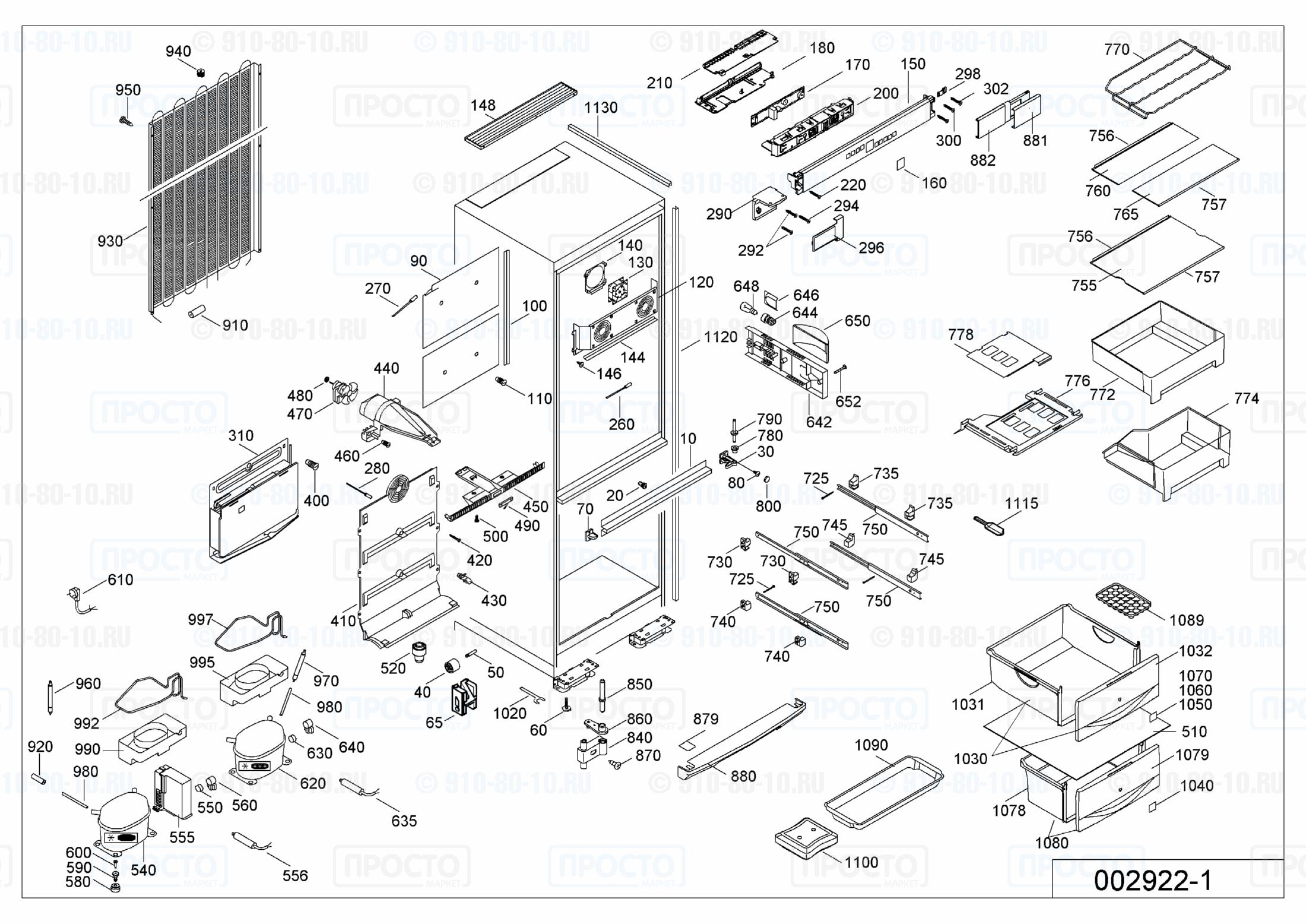 Взрыв-схема запчастей холодильника Liebherr SBNes 2901-20