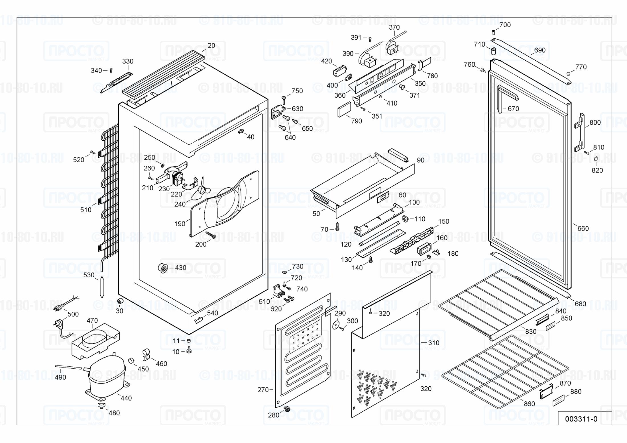 Взрыв-схема запчастей холодильника Liebherr WK 2927-21