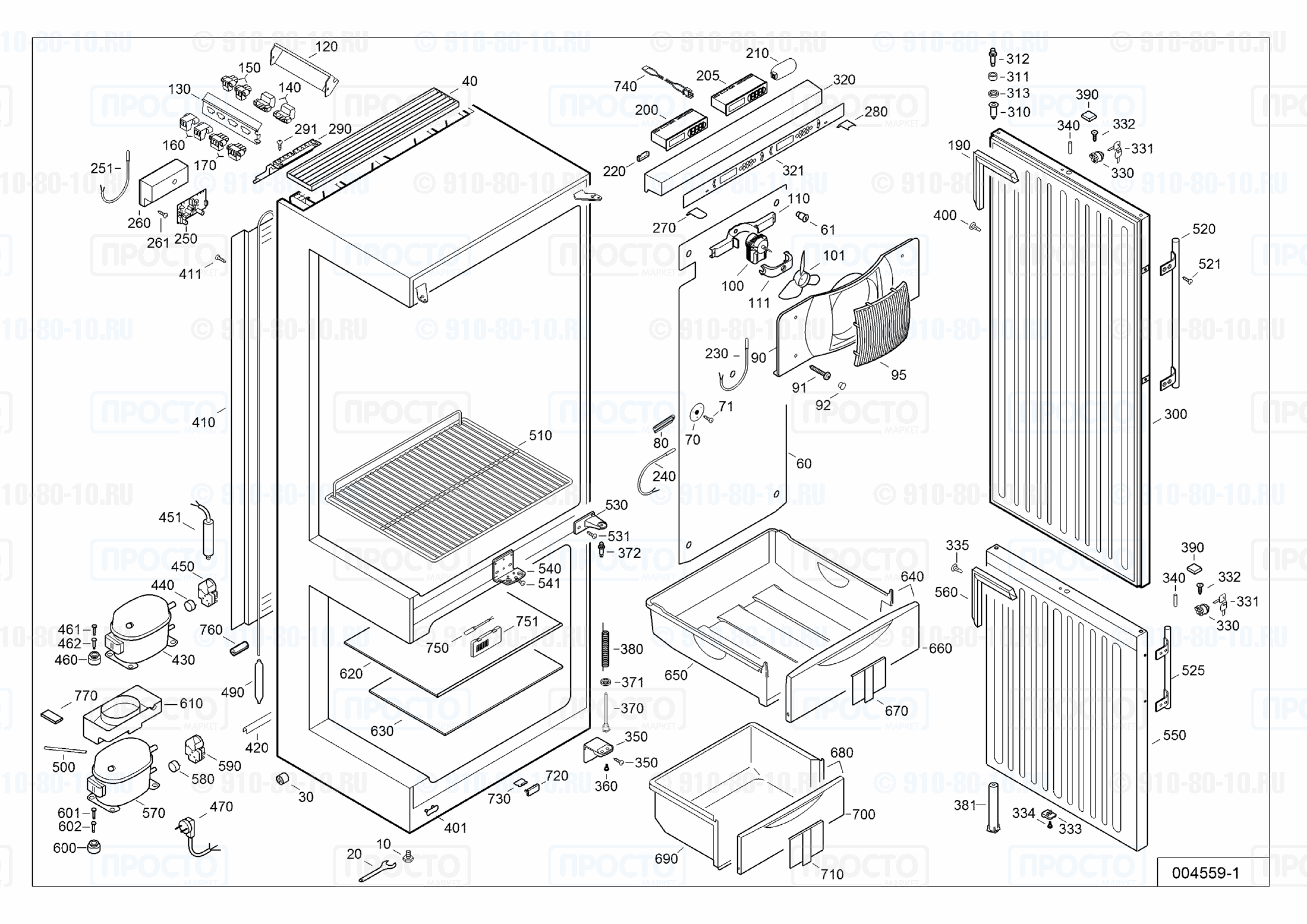 Взрыв-схема запчастей холодильника Liebherr LCv 4010-22C