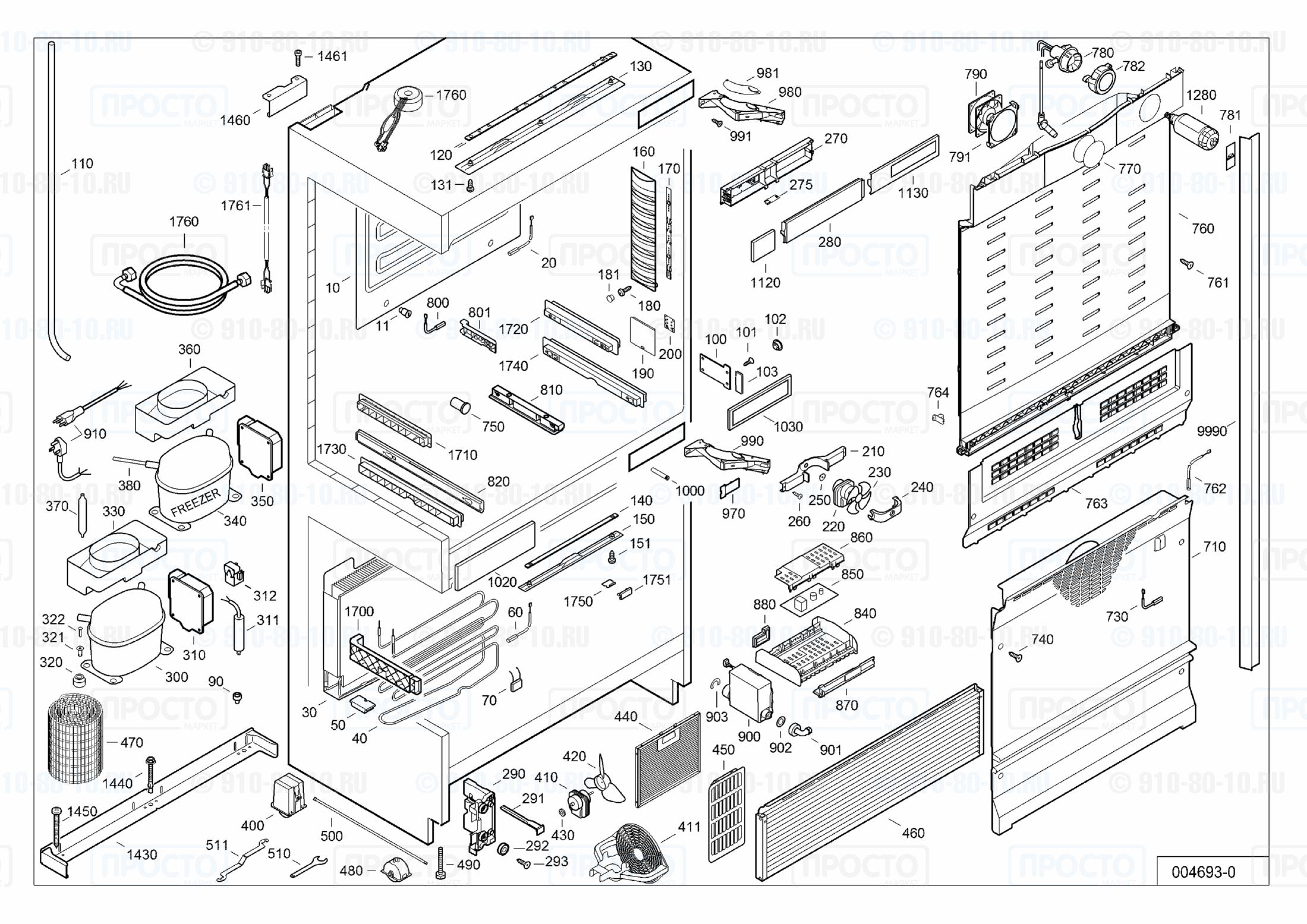 Взрыв-схема запчастей холодильника Liebherr ECBN 5066-10A