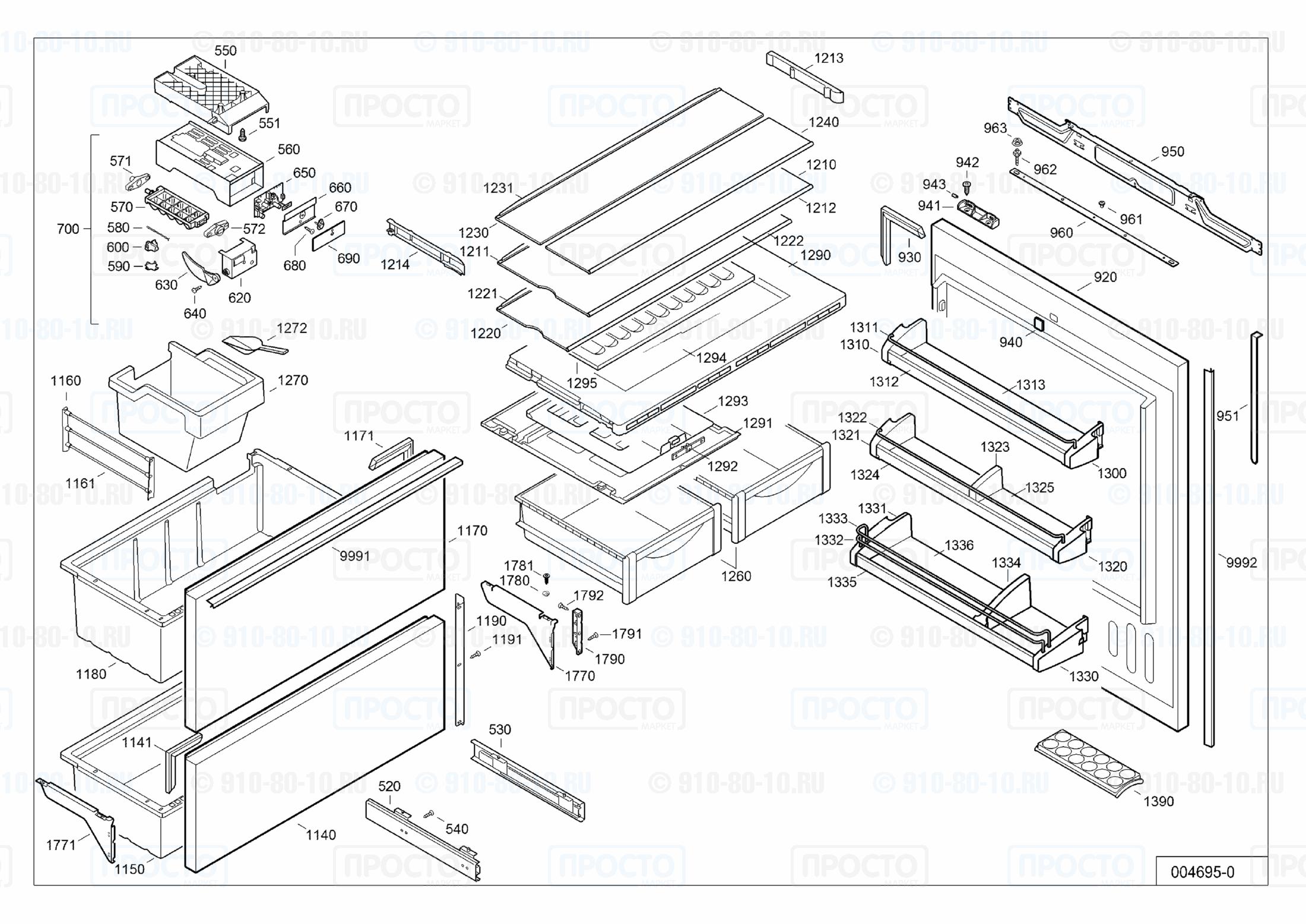 Взрыв-схема холодильника Liebherr ECBN 5066-10A
