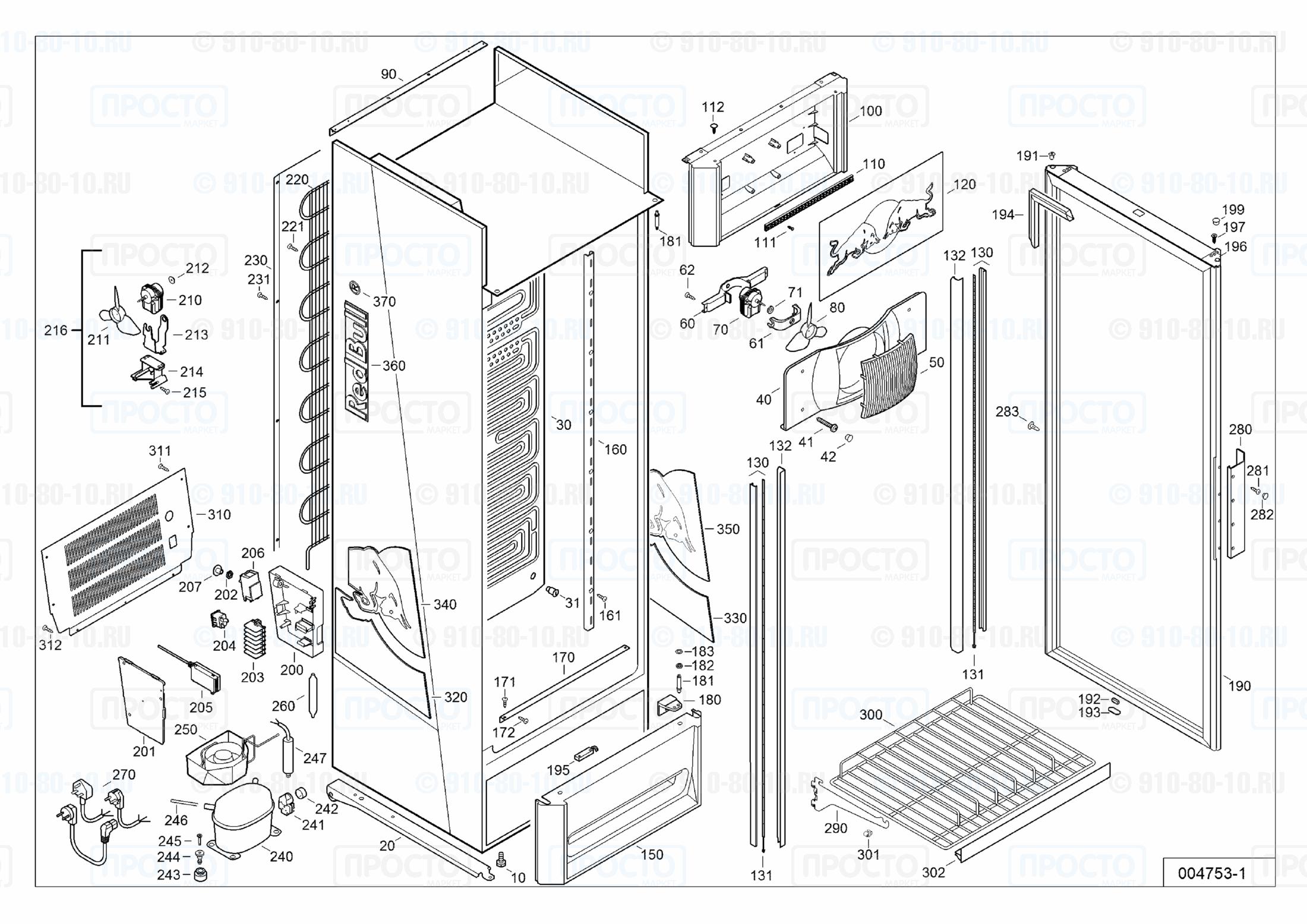 Взрыв-схема запчастей холодильника Liebherr MCsl 3613-22B