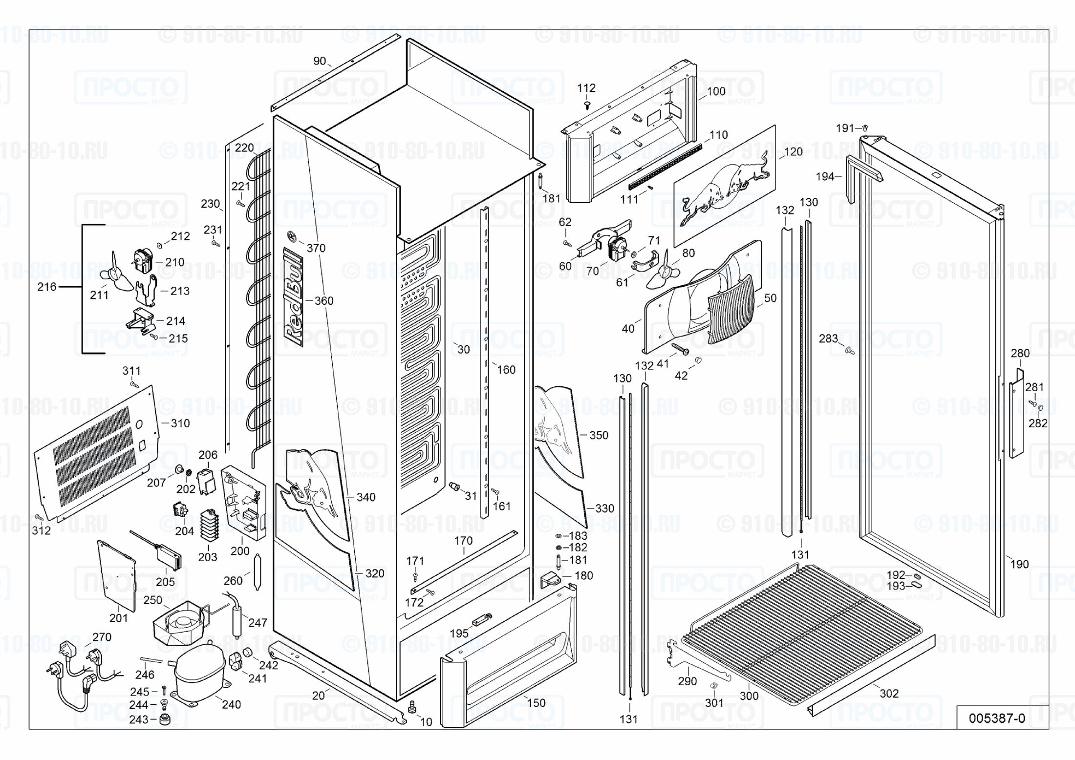 Взрыв-схема запчастей холодильника Liebherr MCsl 3623-22D
