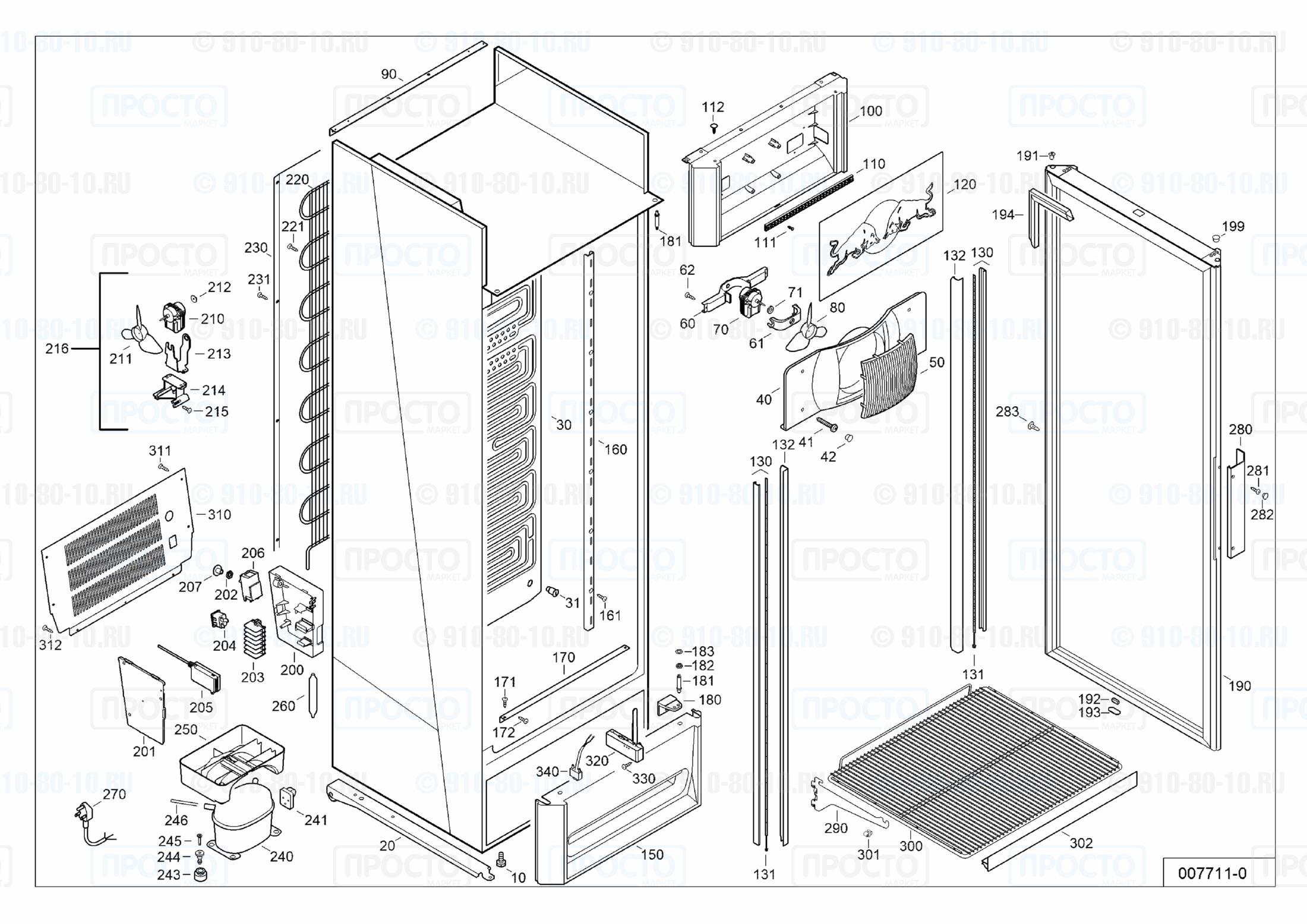 Взрыв-схема запчастей холодильника Liebherr MCsl 3613-42C