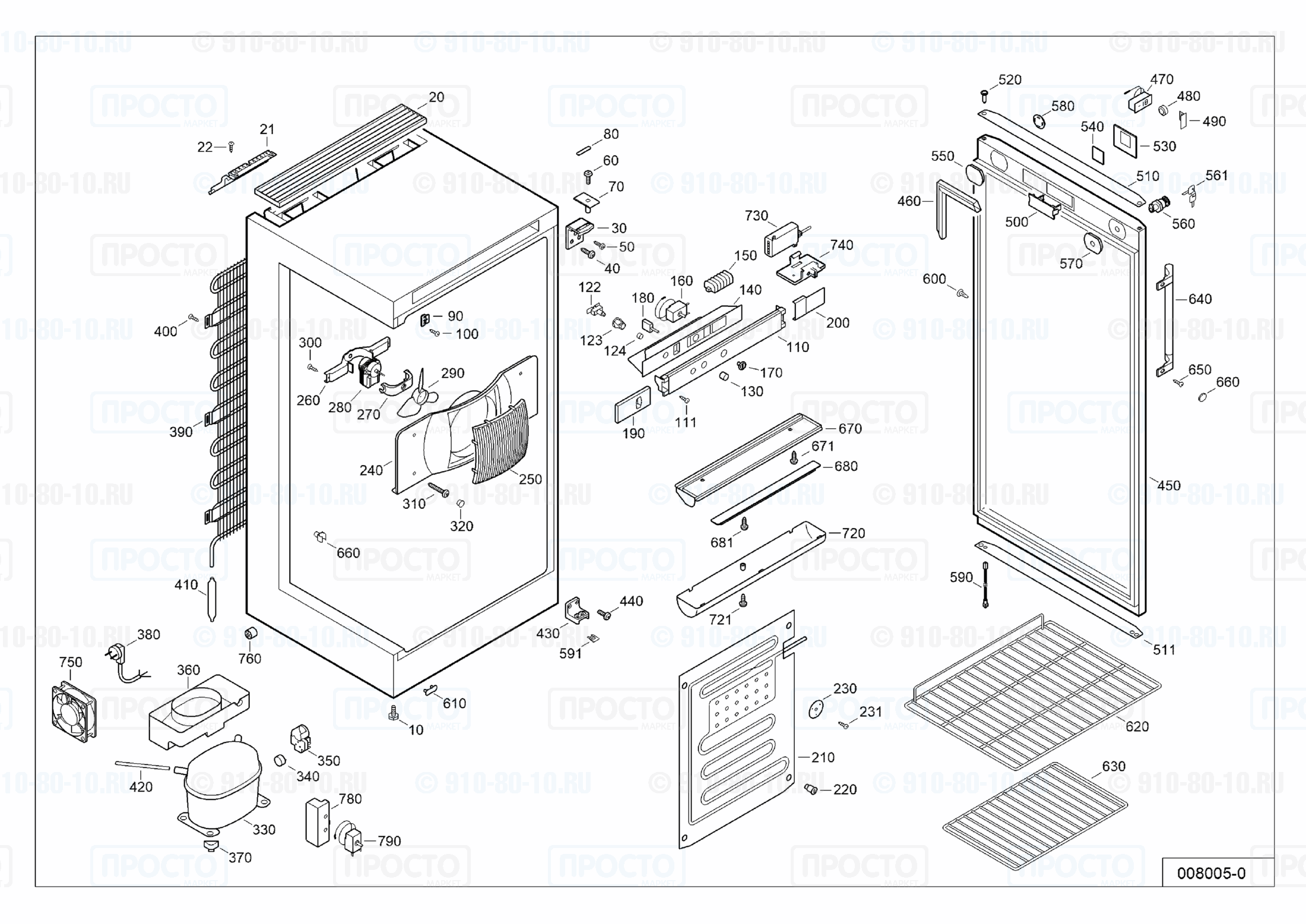 Взрыв-схема запчастей холодильника Liebherr BCDv 1002-20