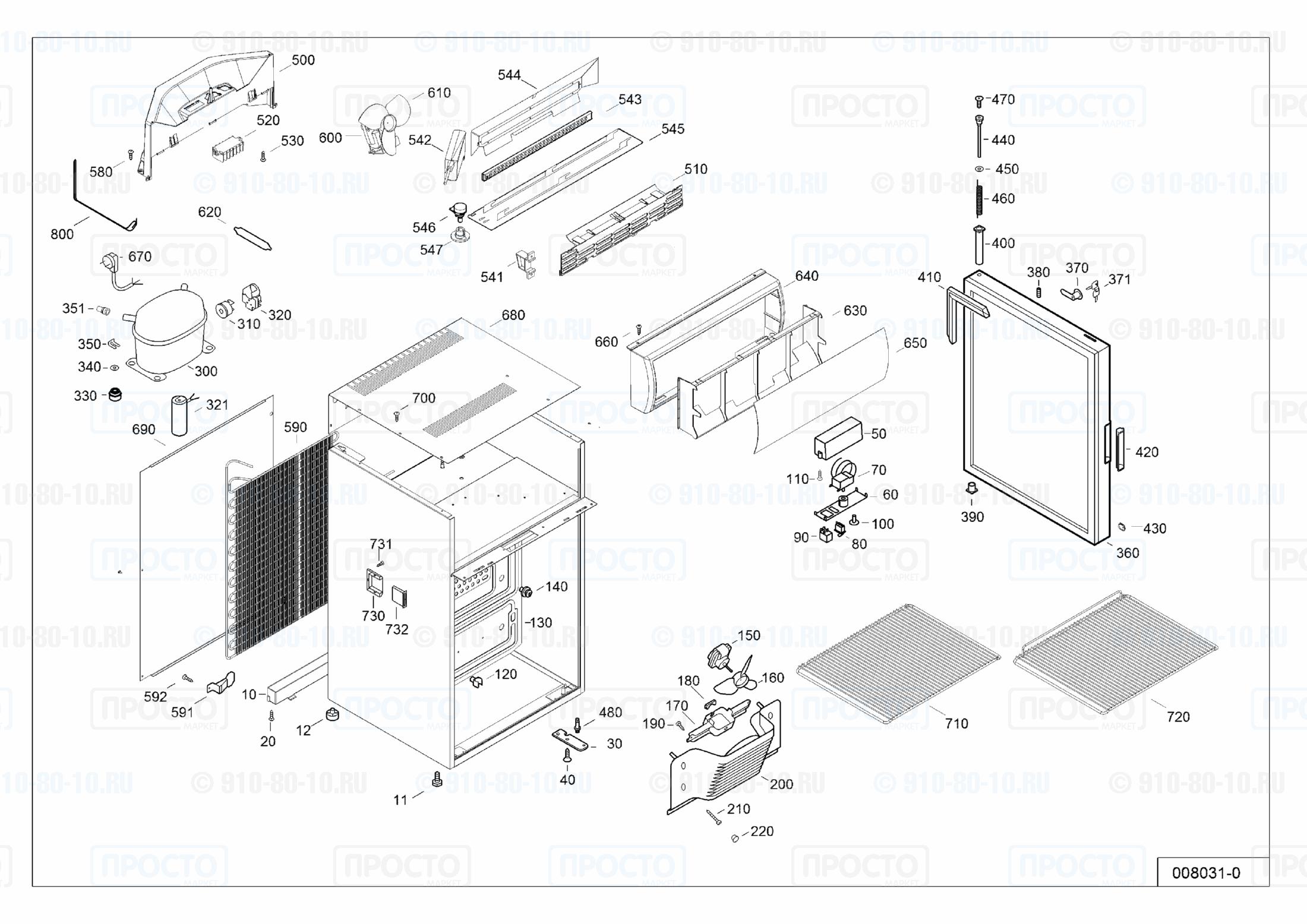 Взрыв-схема запчастей холодильника Liebherr BCDv 1003-21C