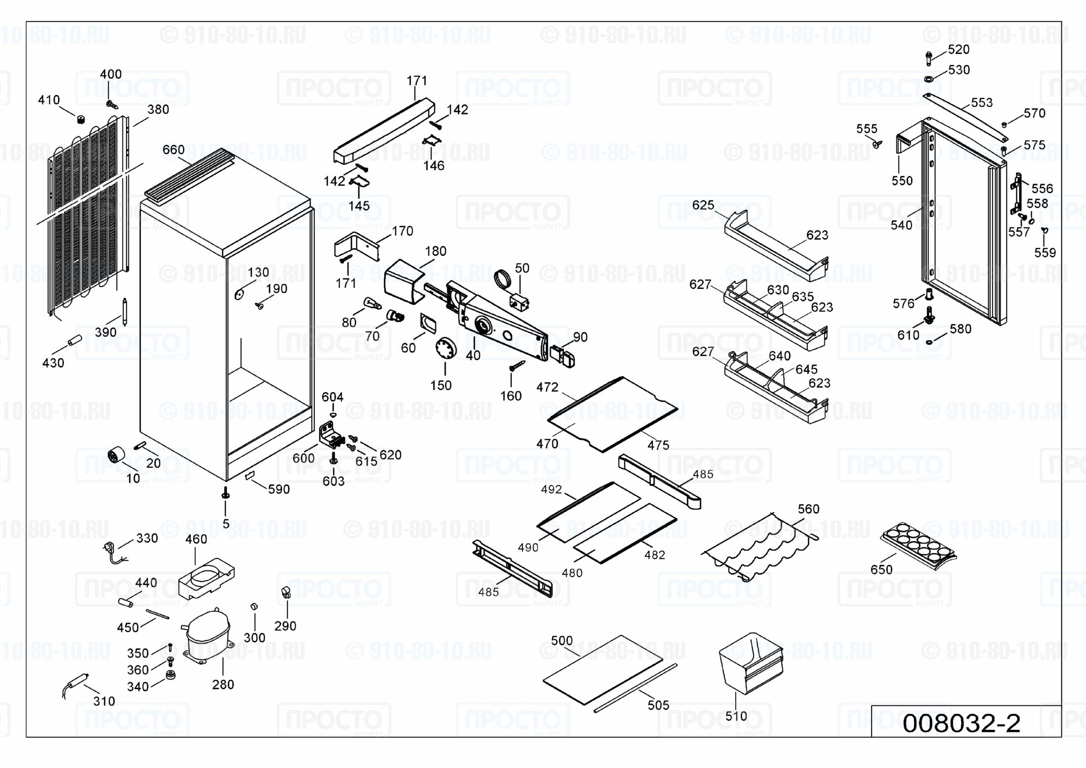 Взрыв-схема запчастей холодильника Liebherr K 2330-21B