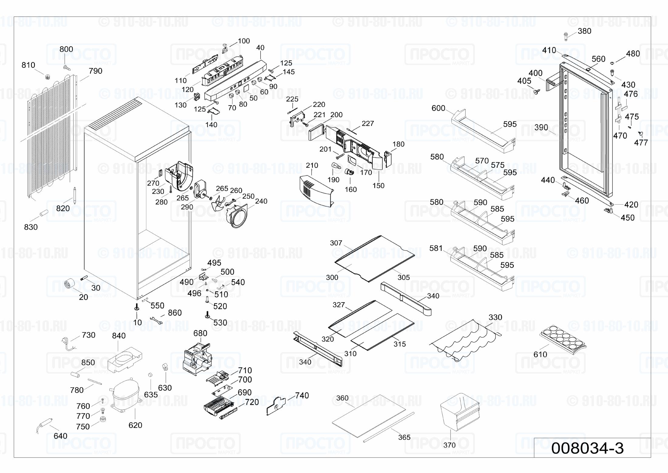 Взрыв-схема запчастей холодильника Liebherr K 2620-21E