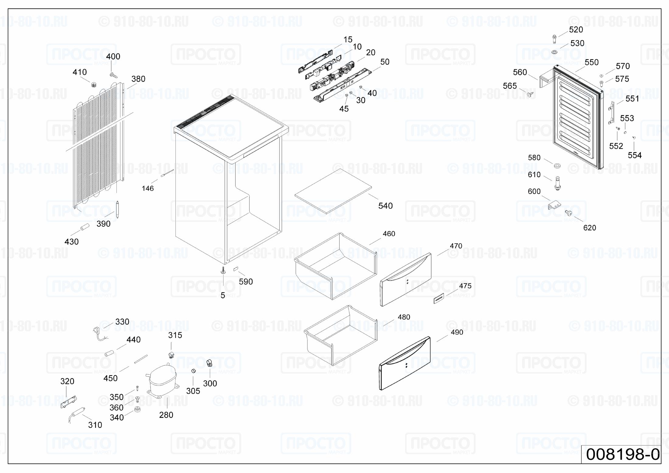 Взрыв-схема запчастей холодильника Liebherr G 1213-20