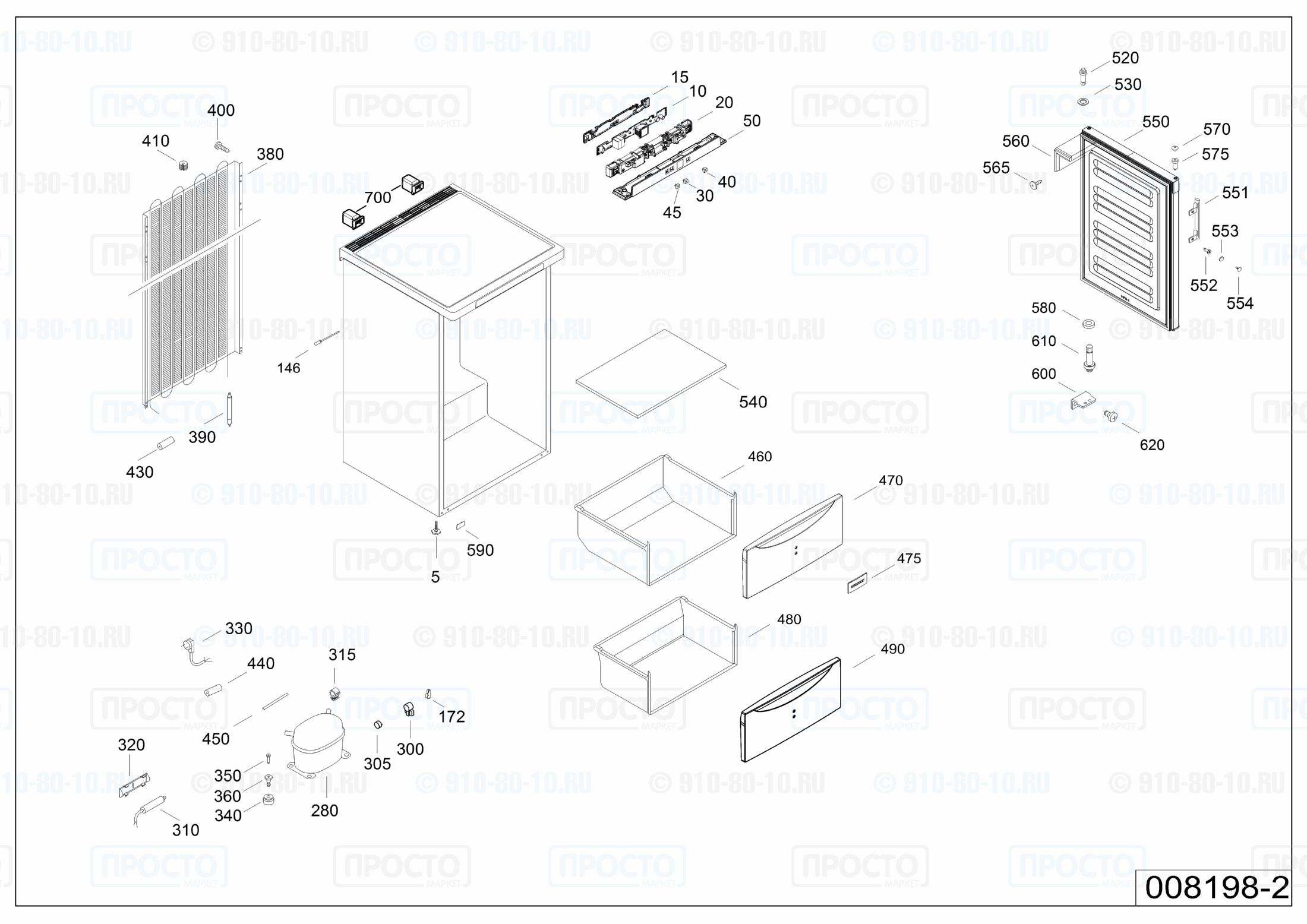 Взрыв-схема запчастей холодильника Liebherr G 1223-20F