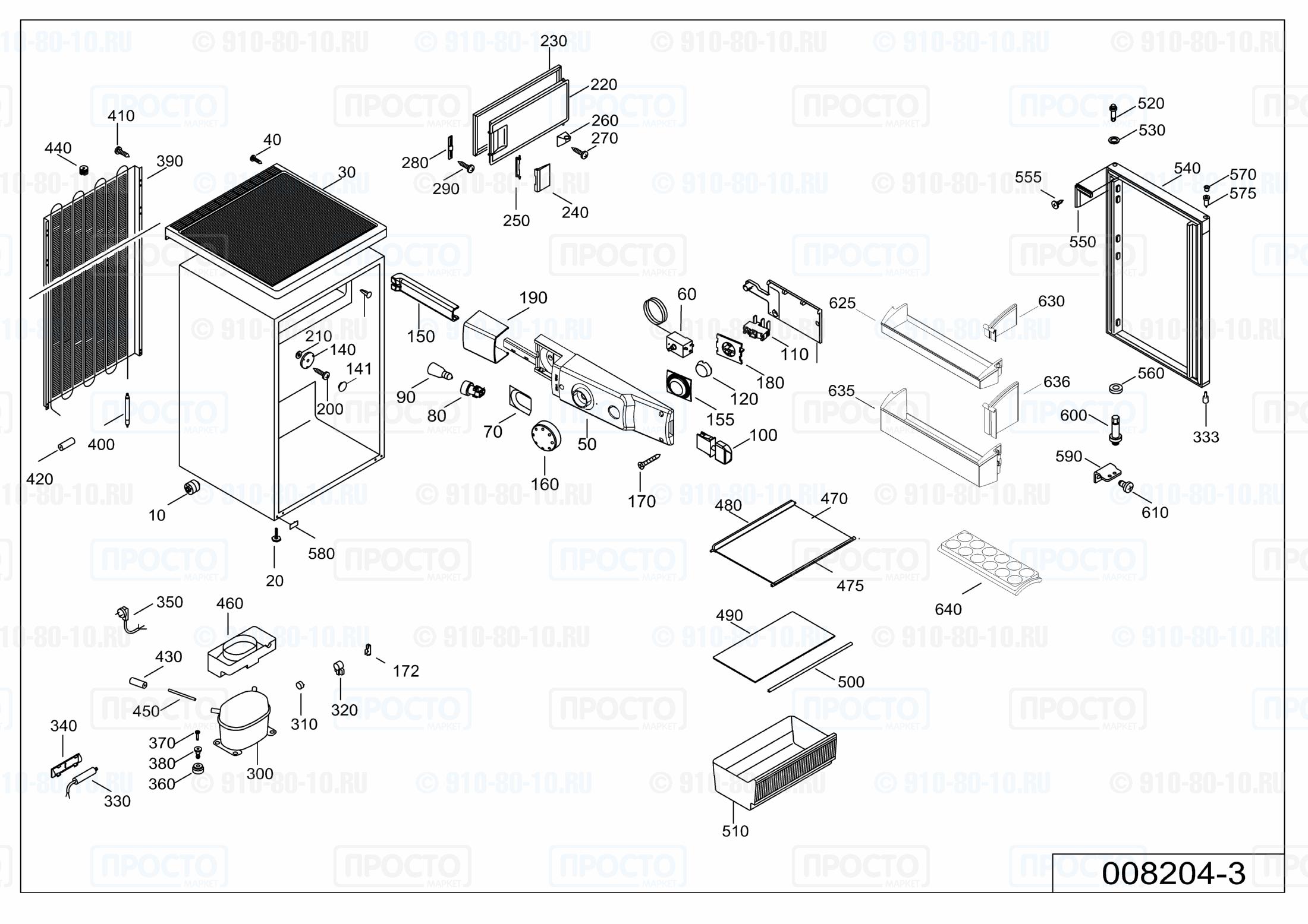 Взрыв-схема запчастей холодильника Liebherr T 1404-20K